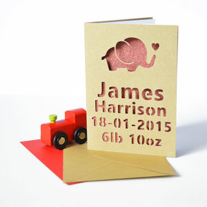 Personalised Elephant New Baby Glitter Cut Out Card - new baby cards