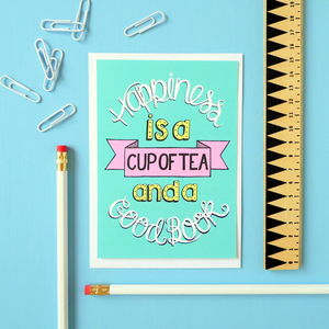 Happiness Is Tea And Books Postcard Or Mini Print - posters & prints