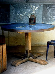 Round Zinc Topped Table On Aged Oak Pedestal - dining tables