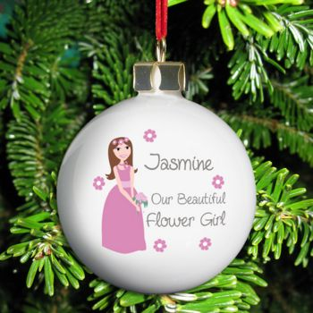 Fabulous Flower Girl Personalised Wedding Bauble