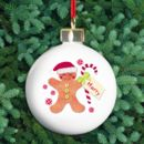 Gingerbread Man Personalised Christmas Bauble