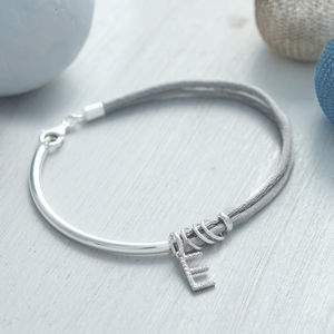 Silk And Sterling Silver Pave Initial Charm Bangle - women's jewellery
