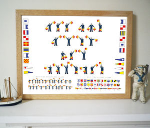 Personalised Signal And Semaphore Flags Print - art & pictures