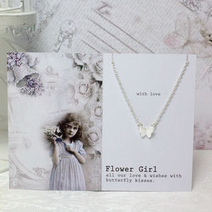 Flower Girl Butterfly Necklace - flower girl jewellery