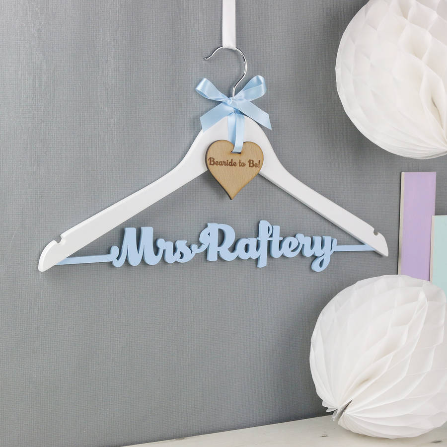 Personalised theme colour wedding dress hanger by no for Wedding dress coat hanger