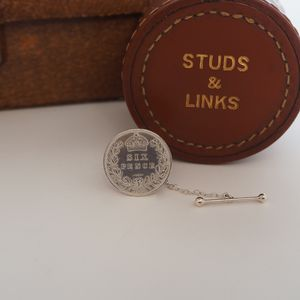 Victorian Sixpence Tie Tack With T Bar Safety Chain - men's jewellery