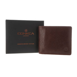 Gift Boxed Handcrafted Brown Leather 'Soloman' Wallet