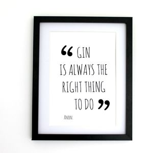 'Gin Quote' Gin Print - posters & prints