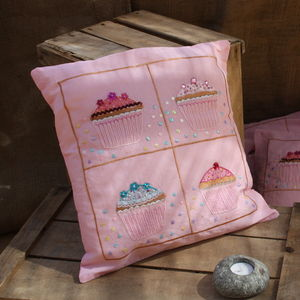 Pink Cupcake Embroidered Cushion Cover - cushions