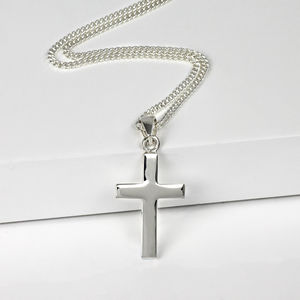 Personalised Men's Silver Cross Pendant - necklaces