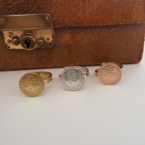 Victorian Style Silver Threepence Coin Ring