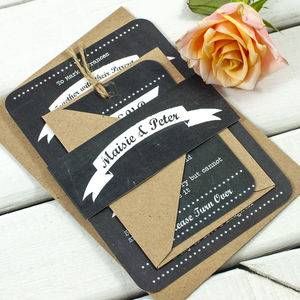 Chalkboard Heart Wedding Invitation Bundle - invitations