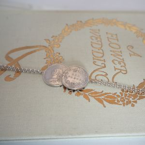 Double Silver Sixpence Bracelet - wedding fashion