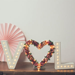 Handmade Couples Initial Lights With Flower Heart
