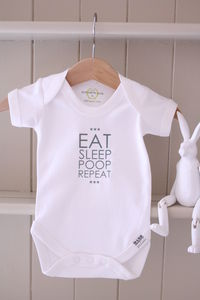Eat…Sleep…Poop…Repeat! 100% Cotton Babygrow - clothing