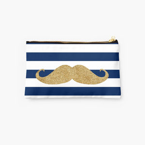 Navy And White Striped Clutch With Gold Moustache - make-up bags
