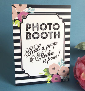 Floral Wedding Photo Booth Sign