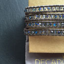 Metallic Leather And Azure Crystal Wrap Bracelet