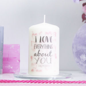 Personalised 'I Love You' Quote Candle - occasional supplies