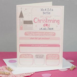Personalised Girls Christening Keepsake Card - winter sale