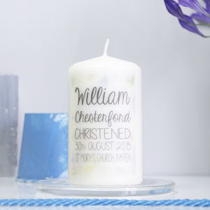 Personalised Watercolour Christening Candle For Boys - christening gifts