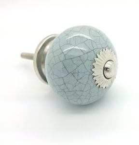 Grey Crackle Cupboard Door Knob Drawer Handle