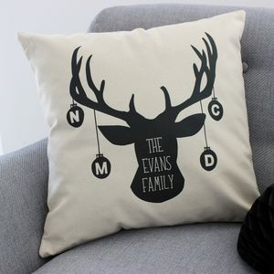 Personalised 'Christmas Stag Family' Cushion