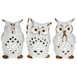 White Owl See Hear Speak Tea Light Holder - candles & home fragrance