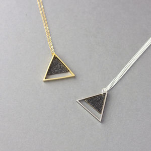Large Geometric Two Triangle Necklace - geometric shapes