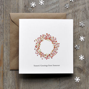 Berry Wreath Personalised Christmas Card