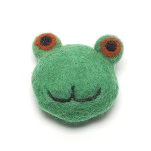 Handmade Felt Frog Brooch - children's accessories