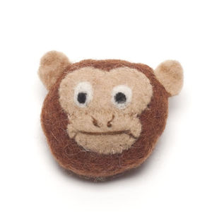 Handmade Felt Monkey Brooch - children's accessories