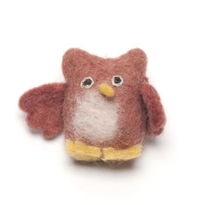 Handmade Felt Playful Owl Brooch - children's jewellery