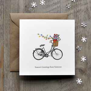 Bicyle With Presents Personalised Christmas Card