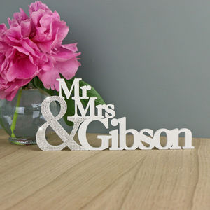 Swarovski Crystal 'Mr And Mrs' Cut Out Keepsake - room decorations