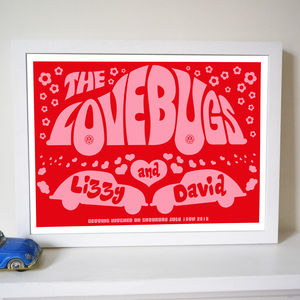 Personalised 'Lovebugs' Wedding Or Anniversary Print