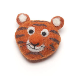 Handmade Felt Tiger Brooch - children's jewellery