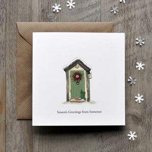 Cottage Door Personalised Christmas Card - christmas cards