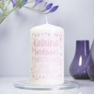 Personalised Patterned Christening Candle For Girls