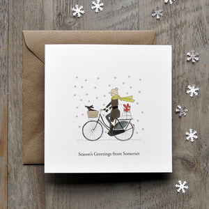 Cycling Vintage Personalised Christmas Card - cards & wrap