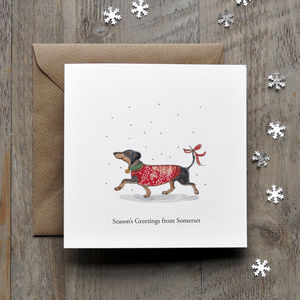 Happy Daschund Personalised Christmas Card