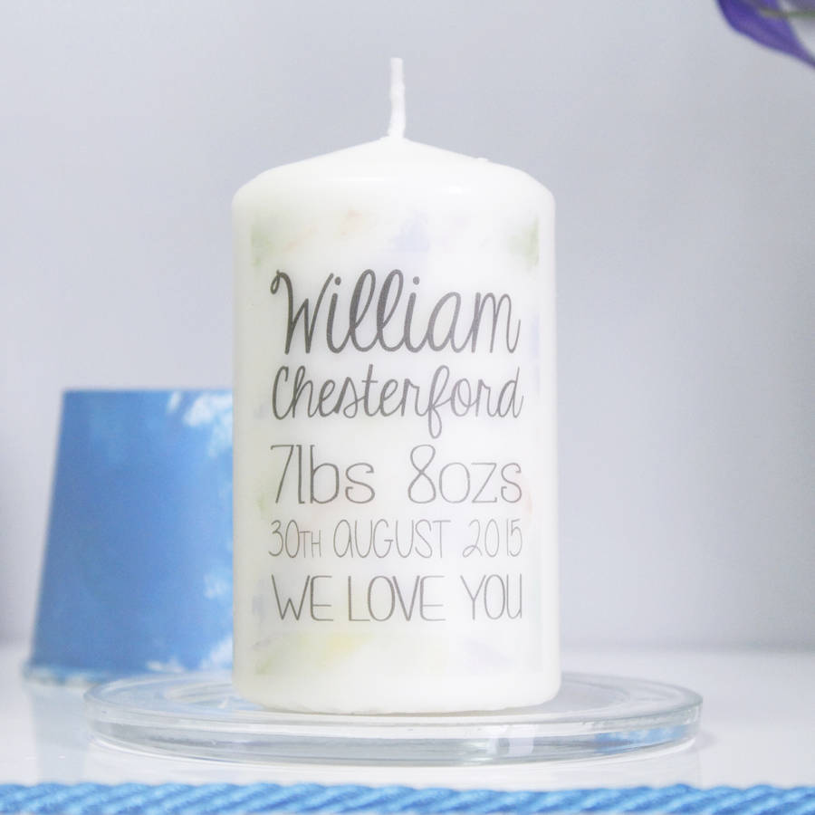 personalised new baby boy announcement candle by olivia morgan ltd – New Baby Boy Announcement