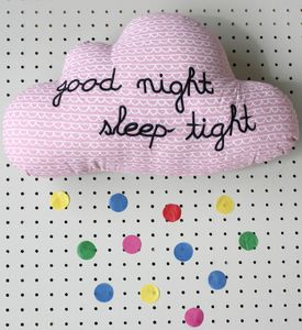 Good Night Sleep Tight Pink Cloud Cushion - bedroom