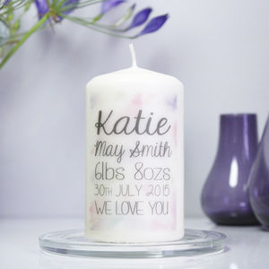 Personalised New Baby Girl Announcement Candle