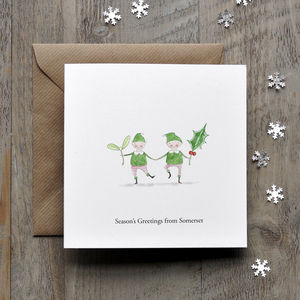 Christmas Elves Illustrated Personalised Card