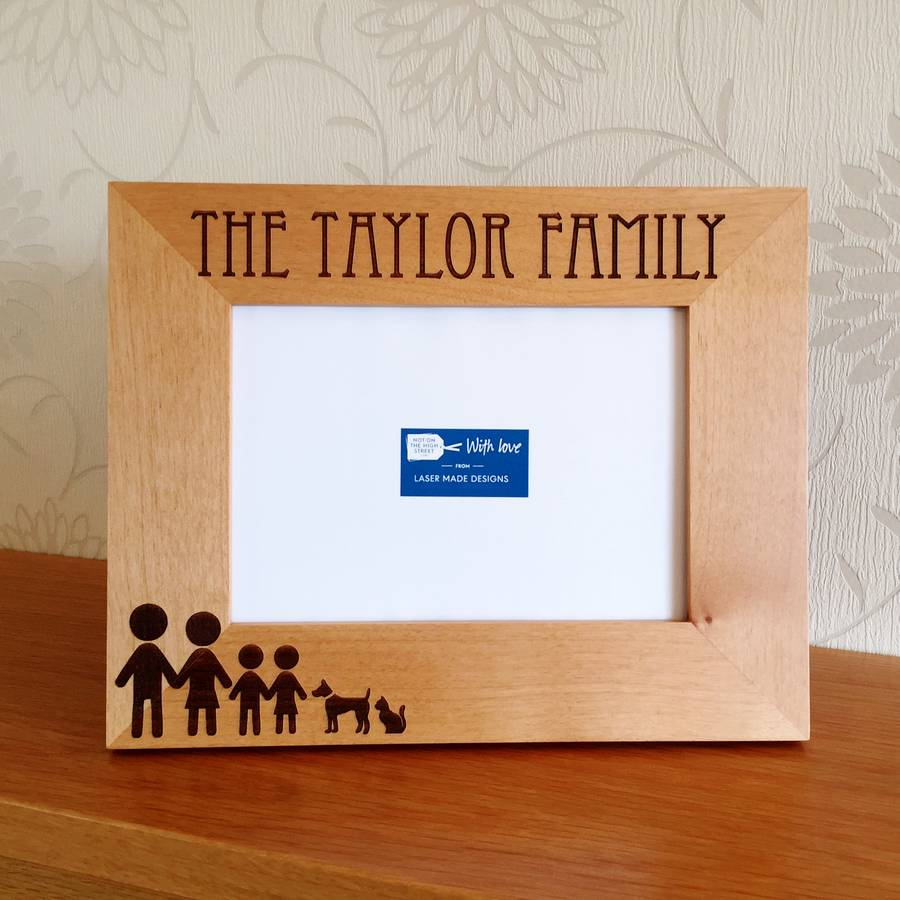Personalised Stick Family Photo Frame By Laser Made