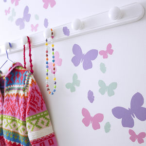 Childrens Butterfly Flutter Wall Stickers Set - wall stickers by room