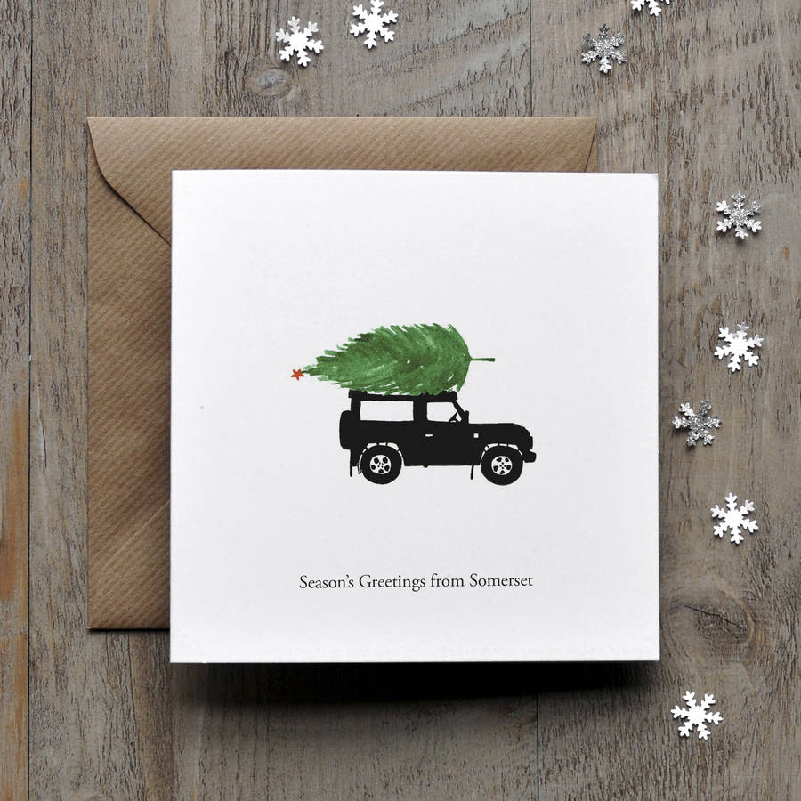Landrover Defender Personalised Christmas Card By