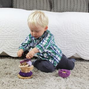 Handmade Sensory Rich Toy Stacking Hoops - traditional wooden toys