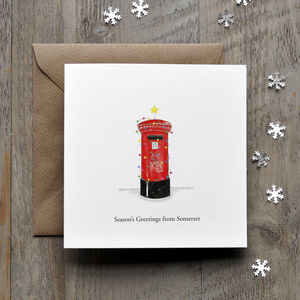 British Postbox Personalised Christmas Card - christmas cards